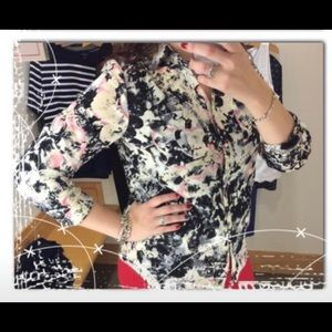 Talbots Floral Blouse Roll Sleeve Size 12